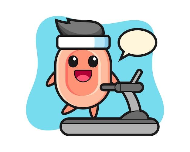 Personnage de dessin animé de savon marchant sur le tapis roulant, style mignon pour t-shirt, autocollant, élément de logo