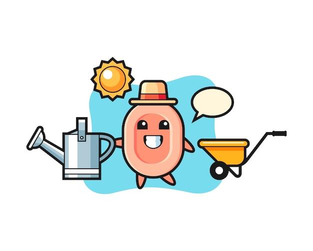 Personnage de dessin animé de savon tenant un arrosoir, style mignon pour t-shirt, autocollant, élément de logo