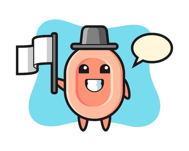 Personnage de dessin animé de savon tenant un drapeau, style mignon pour t-shirt, autocollant, élément de logo