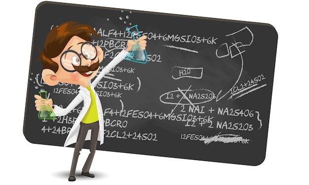 Personnage de dessin animé scientifique faisant une illustration vectorielle de découverte