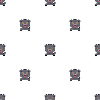 Personnage de dessin animé scottish fold cat sans soudure de fond pour la conception.