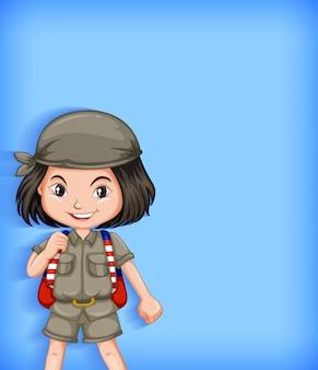 Personnage de dessin animé scout fille