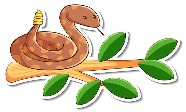 Personnage de dessin animé de serpent à sonnettes vert sur un autocollant de branche