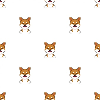 Personnage de dessin animé shiba inu chien sans soudure de fond