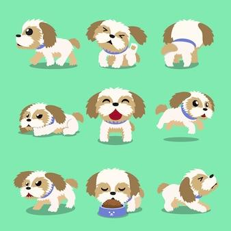 Personnage de dessin animé shih tzu chien pose