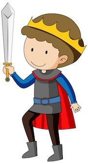 Personnage de dessin animé simple du roi tenant l'épée isolée