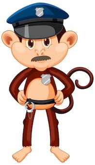 Personnage de dessin animé de singe policier