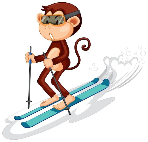 Personnage de dessin animé de singe de ski