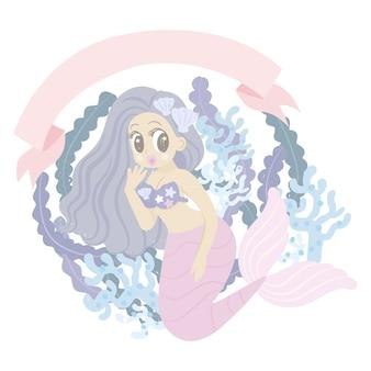 Personnage de dessin animé de sirène avec corail