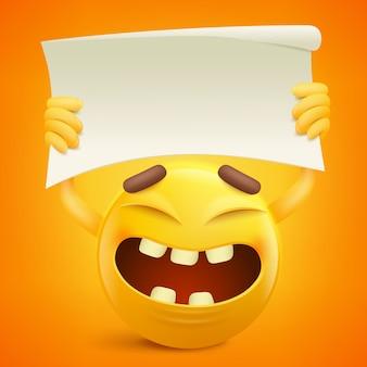 Personnage de dessin animé de smiley jaune avec bannière en papier dans les mains.