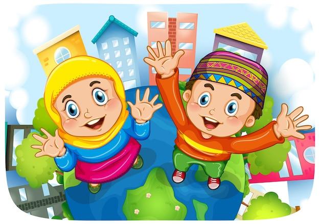 Personnage de dessin animé de soeur et frère musulman