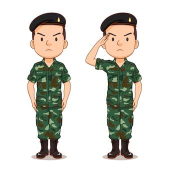Personnage de dessin animé d'un soldat thaïlandais