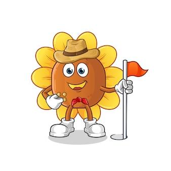 Personnage de dessin animé de soleil fleur scout