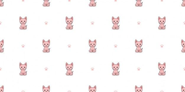 Personnage de dessin animé sphynx chat sans soudure de fond