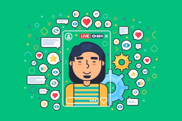 Personnage de dessin animé de streamer masculin asiatique. diffusion mobile en ligne. un vlogger chinois tire une illustration de couleur plate en direct.