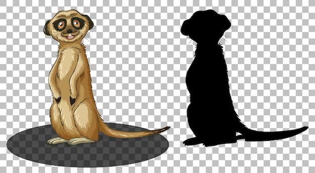 Personnage de dessin animé de suricate avec sa silhouette