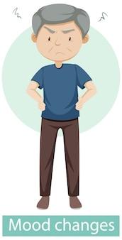 Personnage de dessin animé avec des symptômes de changements d'humeur