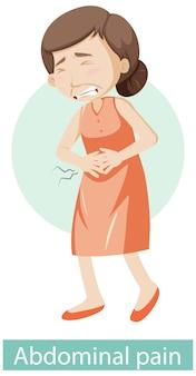 Personnage de dessin animé avec des symptômes de douleurs abdominales