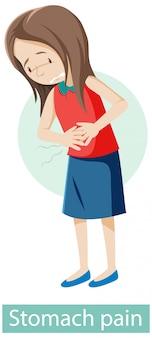Personnage de dessin animé avec des symptômes de douleurs à l'estomac
