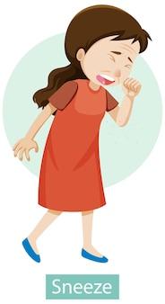 Personnage de dessin animé avec des symptômes d'éternuement