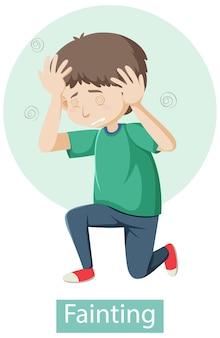 Personnage de dessin animé avec des symptômes d'évanouissement