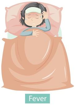 Personnage de dessin animé avec des symptômes de fièvre