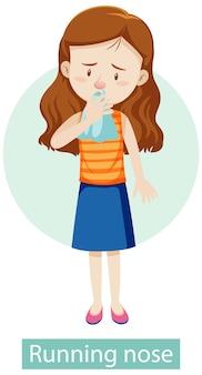 Personnage de dessin animé avec des symptômes de nez qui coule