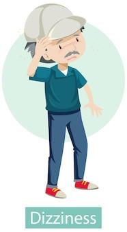 Personnage de dessin animé avec des symptômes de vertiges