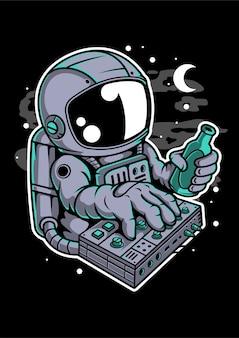 Personnage de dessin animé de synthé astronaute
