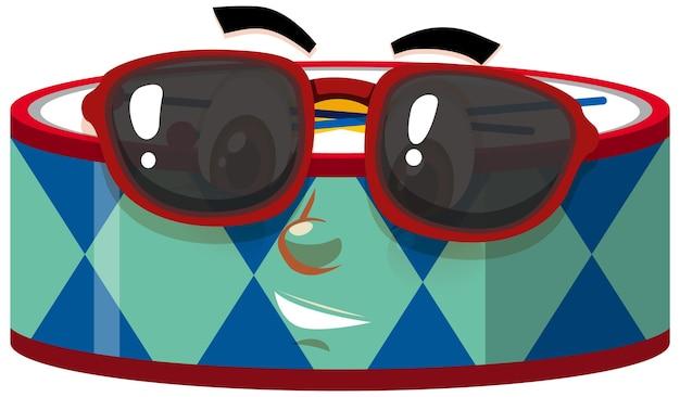 Personnage de dessin animé de tambour avec expression faciale