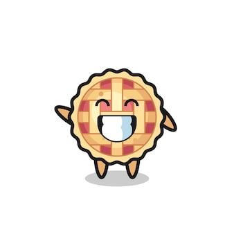Personnage de dessin animé de tarte aux pommes faisant un geste de la main, design de style mignon pour t-shirt, autocollant, élément de logo