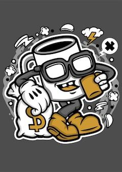 Personnage de dessin animé de tasse à café