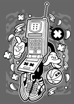 Personnage de dessin animé de téléphone portable rétro