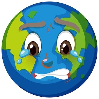 Personnage de dessin animé de la terre avec l'expression du visage qui pleure sur fond blanc