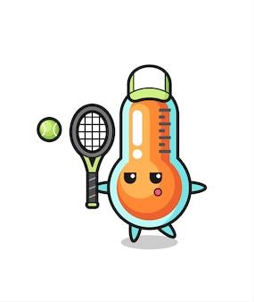 Personnage de dessin animé de thermomètre en tant que joueur de tennis