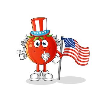 Personnage de dessin animé de tomate oncle sam