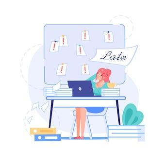 Personnage de dessin animé de travailleur de bureau plat dans la scène de la date limite de travail.