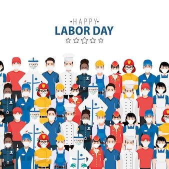 Personnage de dessin animé avec un travailleur professionnel au festival de la fête du travail heureux