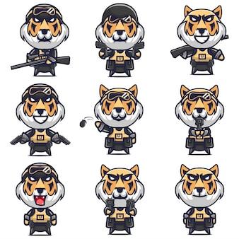 Personnage de dessin animé de troupes de swat tigre