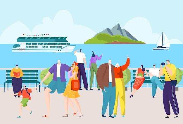 Personnage de dessin animé en vacances à la mer, touriste à pied à l'illustration de vacances été mer