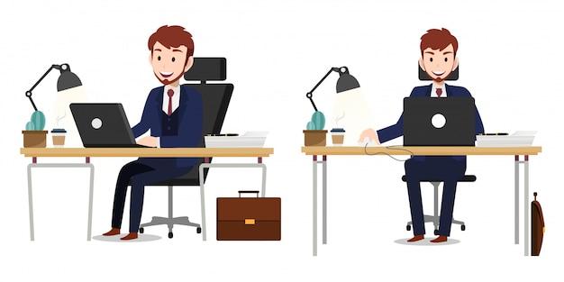 Personnage de dessin animé avec le vecteur de caractère de travail homme d'affaires