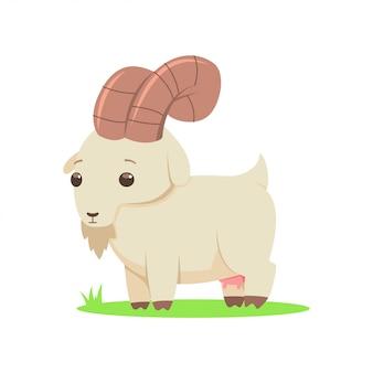 Personnage de dessin animé de vecteur de chèvre isolé sur fond blanc.