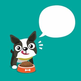 Personnage de dessin animé de vecteur chien boston terrier mignon et bulle de dialogue blanc