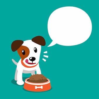 Personnage de dessin animé de vecteur chien jack russell terrier et bulle de dialogue blanc