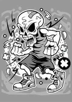 Personnage de dessin animé de vecteur de crâne en colère