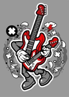 Personnage De Dessin Animé De Vecteur De Guitare Basse Vecteur Premium