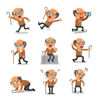 Personnage de dessin animé vieil homme pose isolé sur blanc