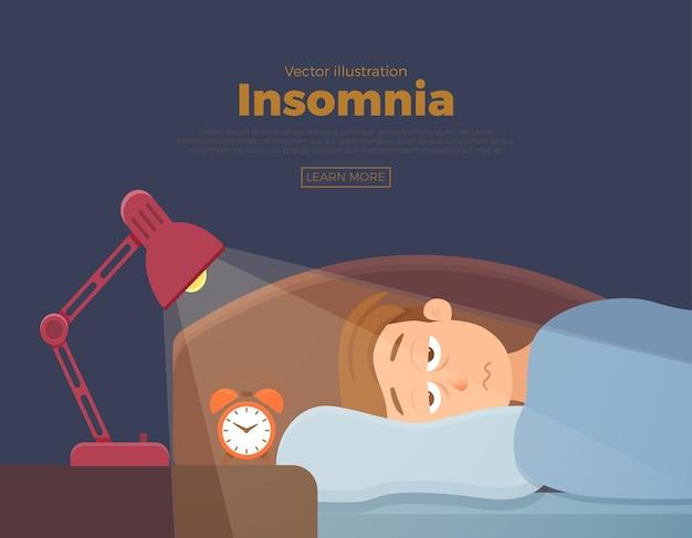 Le personnage de dessin animé de visage d'homme sans sommeil souffre d'insomnie. guy aux yeux ouverts dans l'obscurité nuit couché sur le concept de lit. homme triste éveillé, fatigué de ne peut pas rêver illustration du problème