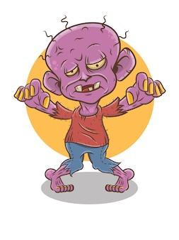 Personnage de dessin animé de zombie