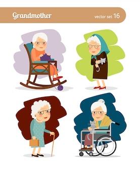 Personnage de dessin de grand-mère